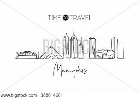 One Single Line Drawing Of Memphis City Skyline, United States. Historical Town Landscape In The Wor