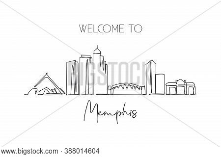Single Continuous Line Drawing Of Memphis City Skyline, Usa. Famous City Scraper And Landscape. Worl