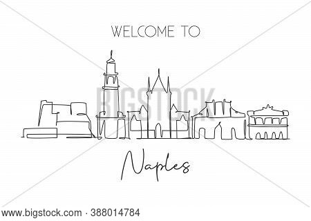 One Single Line Drawing Of Naples City Skyline, Italy. Historical Skyscraper Landscape In World. Bes