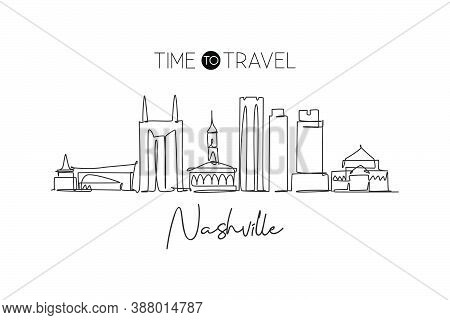 One Continuous Line Drawing Nashville City Skyline, Tennessee. Beautiful Landmark. World Landscape T