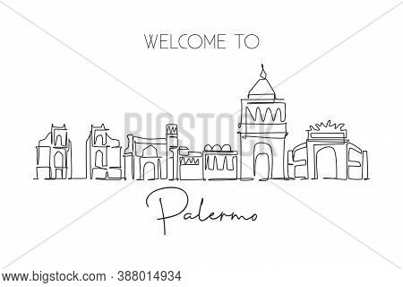One Continuous Line Drawing Palermo City Skyline, Italy. Beautiful Skyscraper. World Landscape Touri