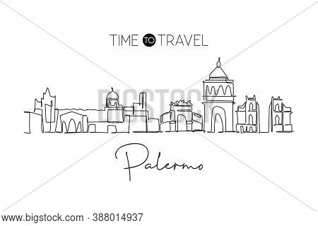 One Single Line Drawing Palermo City Skyline, Italy. Historical Skyscraper Landscape In World. Best