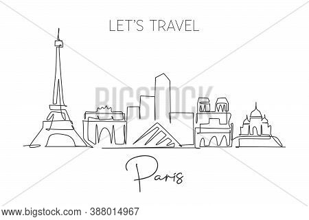 One Single Line Drawing Of Paris City Skyline France. Historical Skyscraper Landscape In World. Best