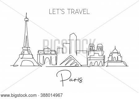 One Single Line Drawing Of Paris City Skyline France. Historical Skyscraper Landscape In World. Best