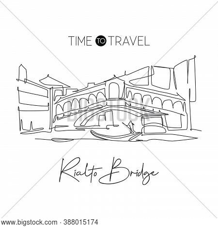 One Continuous Line Drawing Rialto Bridge Landmark. Most Beautiful Romantic Place In Venice, Italy.