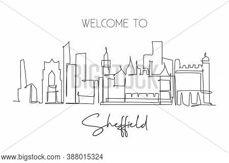 Single Continuous Line Drawing Sheffield City Skyline. Famous City Skyscraper Landscape In World. Wo
