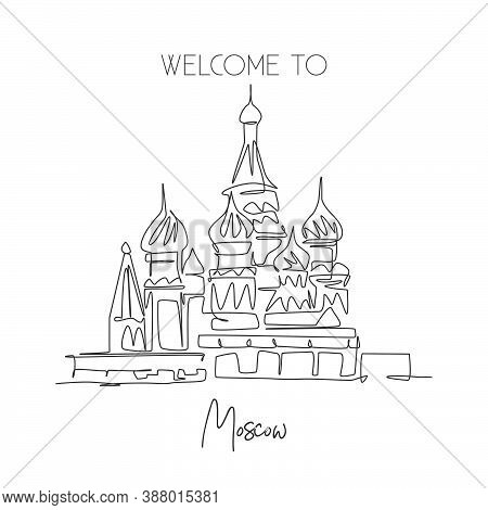 One Single Line Drawing St. Basils Landmark. World Iconic Place In Moscow, Russia. Tourism Travel Po