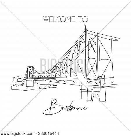 Single Continuous Line Drawing Story Bridge Landmark. Beautiful Famous Place In Brisbane, Australia.