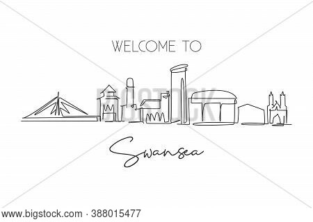 Single Continuous Line Drawing Of Swansea City Skyline, United Kingdom. Famous City Landscape. World