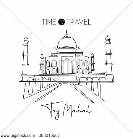 Single Continuous Line Drawing Taj Mahal Landmark. Historical Beauty Iconic Place In Agra, India. Wo