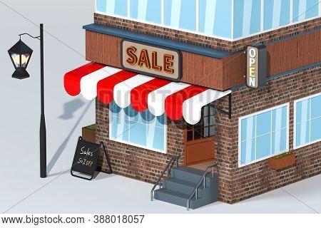 Cartoon Store, Modern Shop Building, 3D Rendering.