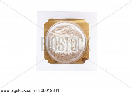 The Coconut Cake With Coconut Meat Layer On Topping Isolated On White Background. Homemade Coconut F