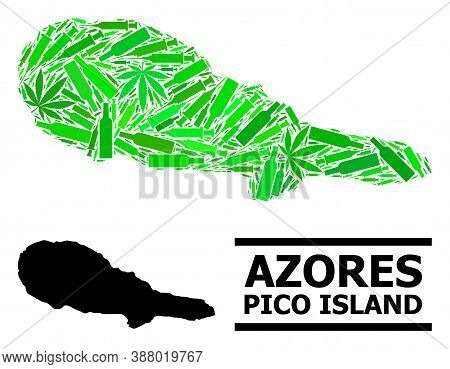 Addiction Mosaic And Solid Map Of Pico Island. Vector Map Of Pico Island Is Formed Of Scattered Inoc