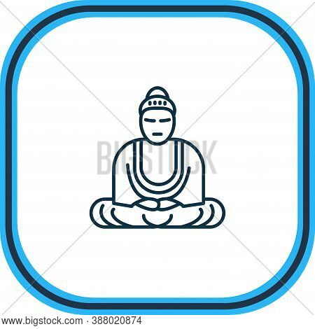 Illustration Of Great Buddha Icon Line. Beautiful History Element Also Can Be Used As Mantra Icon El