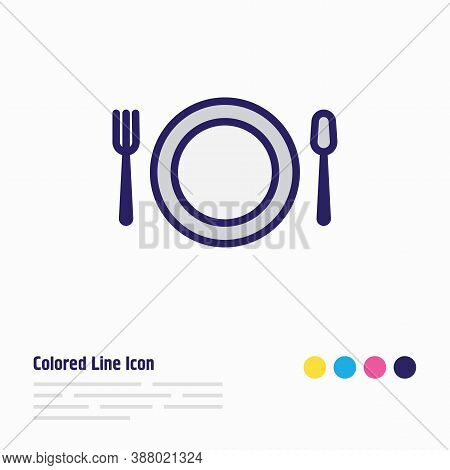 Vector Illustration Of Dish Icon Colored Line. Beautiful Banquet Element Also Can Be Used As Restaur
