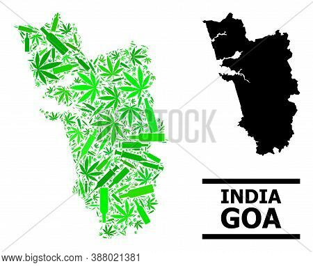 Drugs Mosaic And Solid Map Of Goa State. Vector Map Of Goa State Is Constructed With Randomized Inje