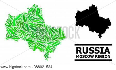 Drugs Mosaic And Solid Map Of Moscow Region. Vector Map Of Moscow Region Is Shaped From Scattered Va
