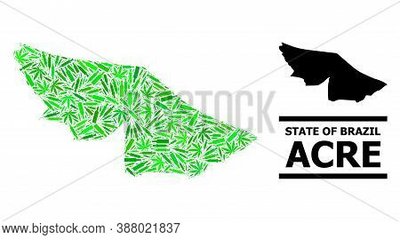 Drugs Mosaic And Usual Map Of Acre State. Vector Map Of Acre State Is Made Of Random Vaccine Doses,
