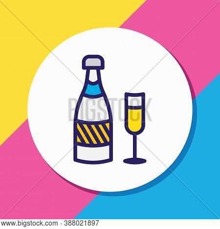 Illustration Of Champagne Icon Colored Line. Beautiful Banquet Element Also Can Be Used As Fizz Icon