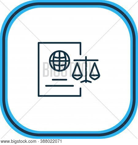 Illustration Of Immigration Law Icon Line. Beautiful Justice Element Also Can Be Used As Citizenship