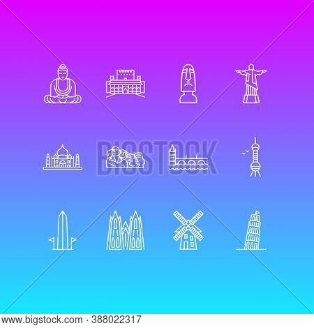Illustration Of 12 History Icons Line Style. Editable Set Of Taj Mahal, Charles Bridge, Washington M