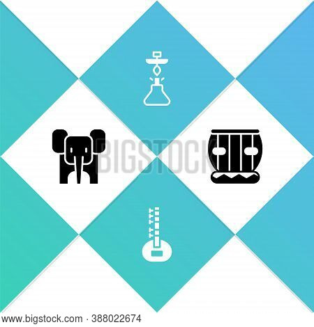 Set Elephant, Sitar, Hookah And Instrument Tabla Icon. Vector