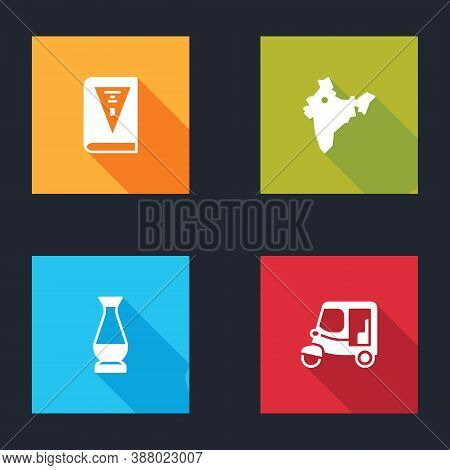 Set India Constitution Day, Map, Indian Vase And Taxi Tuk Tuk Icon. Vector