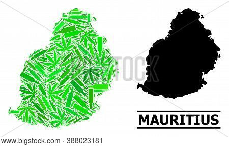 Drugs Mosaic And Usual Map Of Mauritius Island. Vector Map Of Mauritius Island Is Created With Rando