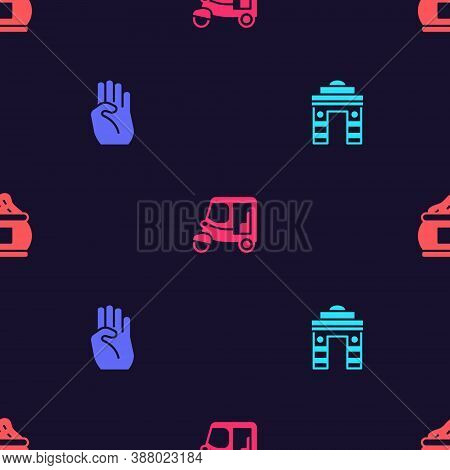 Set India Gate In Delhi, Indian Symbol Hand, Taxi Tuk Tuk And On Seamless Pattern. Vector