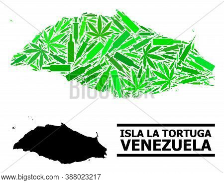 Drugs Mosaic And Solid Map Of Isla La Tortuga. Vector Map Of Isla La Tortuga Is Created From Random