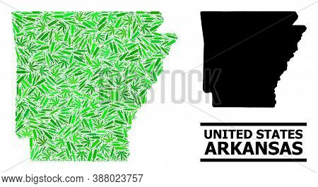 Drugs Mosaic And Usual Map Of Arkansas State. Vector Map Of Arkansas State Is Formed With Random Vac