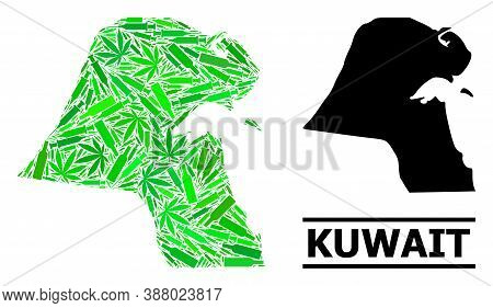 Addiction Mosaic And Solid Map Of Kuwait. Vector Map Of Kuwait Is Constructed With Scattered Injecti