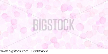 Pink Seamless Girly Wallpaper. Watercolour Romantic Surface. Female Radial Banner. Artistic Circle P