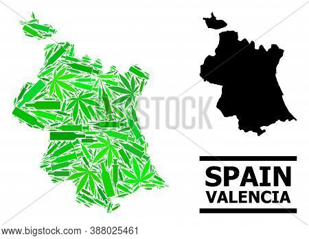 Addiction Mosaic And Usual Map Of Valencia Province. Vector Map Of Valencia Province Is Organized Of
