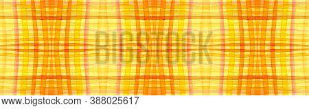 Yellow Tartan Background. Watercolor Picnic Pattern. Retro Geometric Squares For Tile Print. Seamles