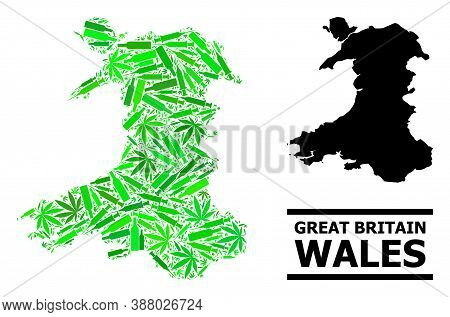 Drugs Mosaic And Solid Map Of Wales. Vector Map Of Wales Is Constructed With Scattered Injection Nee