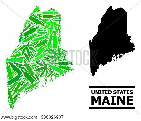 Addiction Mosaic And Usual Map Of Maine State. Vector Map Of Maine State Is Constructed Of Random Sy