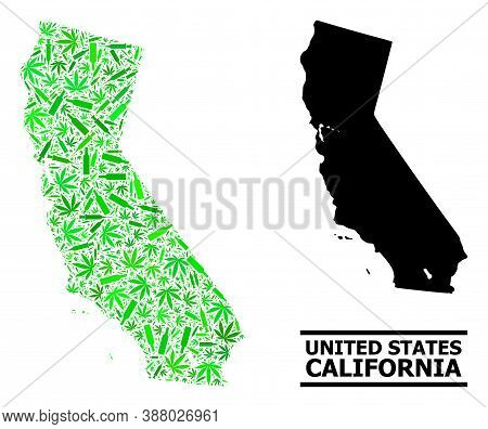 Drugs Mosaic And Solid Map Of California. Vector Map Of California Is Formed Of Scattered Vaccine Sy