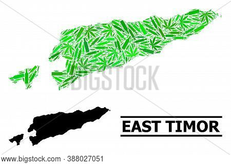 Addiction Mosaic And Solid Map Of East Timor. Vector Map Of East Timor Is Composed Of Scattered Vacc