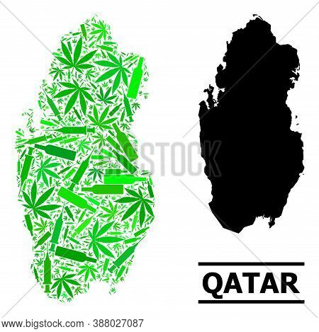 Drugs Mosaic And Usual Map Of Qatar. Vector Map Of Qatar Is Constructed From Random Inoculation Icon