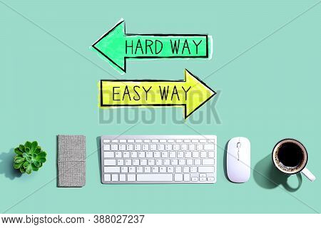 Hard Way Or Easy Way With A Computer Keyboard And A Mouse