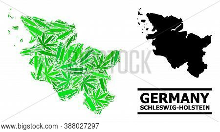 Drugs Mosaic And Solid Map Of Schleswig-holstein State. Vector Map Of Schleswig-holstein State Is Co