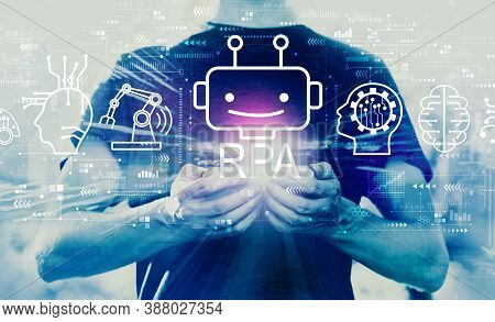 Robotic Process Automation Rpa Theme With Young Man Using His Smartphone
