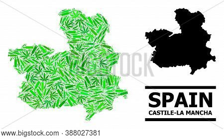 Addiction Mosaic And Usual Map Of Castile-la Mancha Province. Vector Map Of Castile-la Mancha Provin