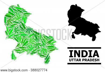 Addiction Mosaic And Solid Map Of Uttar Pradesh State. Vector Map Of Uttar Pradesh State Is Done Of