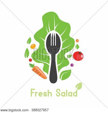 Fork With Salad Vegetable Ornament Logo Sign. Herbs, Lettuce, Organic, Vegetarian, Or Vegan Food. Na