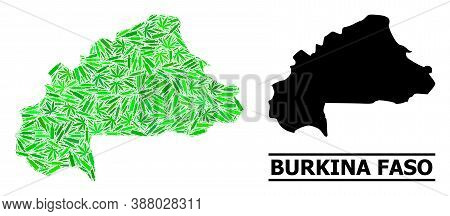 Addiction Mosaic And Solid Map Of Burkina Faso. Vector Map Of Burkina Faso Is Shaped With Scattered