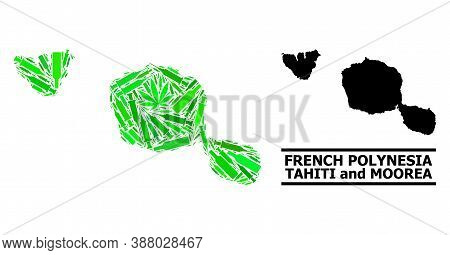 Drugs Mosaic And Usual Map Of Tahiti And Moorea Islands. Vector Map Of Tahiti And Moorea Islands Is