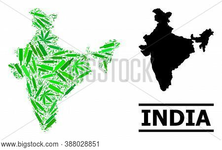 Drugs Mosaic And Solid Map Of India. Vector Map Of India Is Constructed Of Random Vaccine Doses, Mar