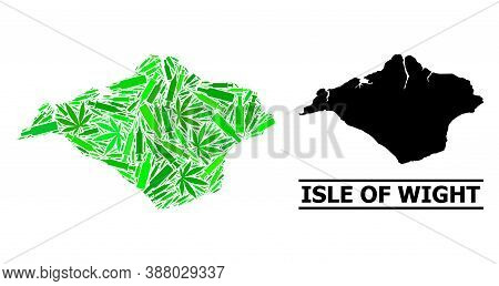 Drugs Mosaic And Usual Map Of Isle Of Wight. Vector Map Of Isle Of Wight Is Created From Random Inje